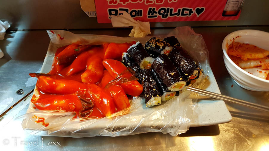 A plate of tteokbokki and gimbap at Gwangjang Market in Seoul