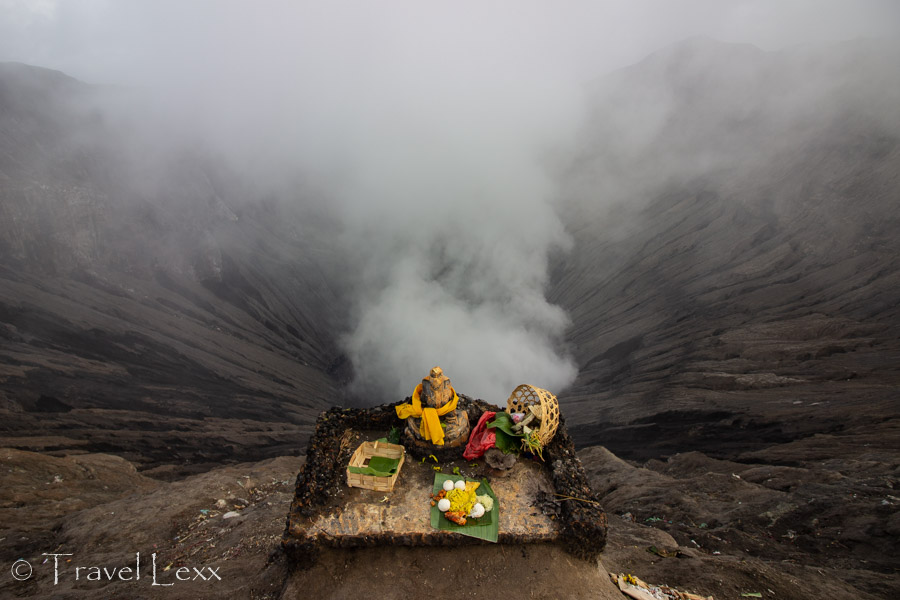 Religious offerings in front of the Mt. Bromo caldera