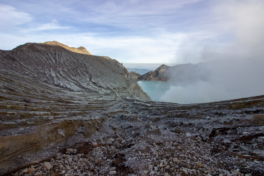 The rocky slopes of Mt. Ijen, Indonesia