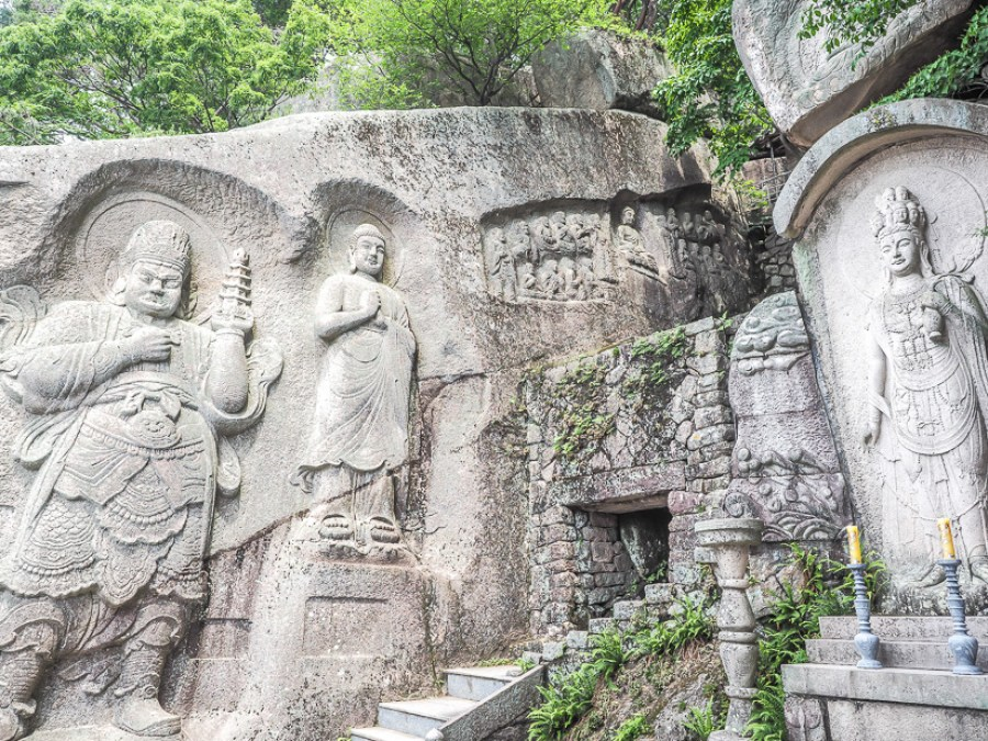 Stone carvings of deities in Seokbulsa Temple, Busan