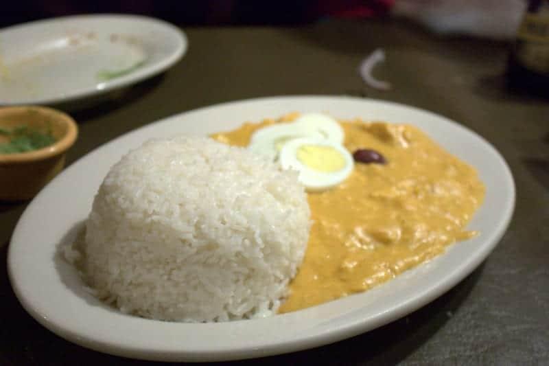 Aji de gallina is a popular Peruvian dish of chicken in a creamy walnut sauce