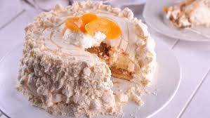 Chajá is a meringue type dish made with sponge, apricots and whipped cream