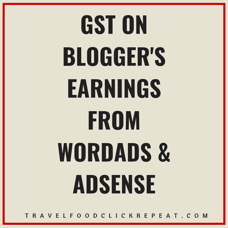 GST on Blogger's Earnings from WordAds or AdSense