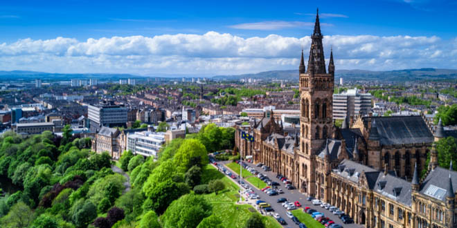 Aerial view of some of the trendy restaurants in Glasgow, Scotland.