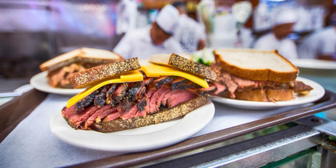 Pastrami sandwiches from Katz's Delicatessen, one of the most iconic movie restaurants in NYC