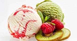 Scoops of Raspberry Vanilla Ripple and Kiwi flavoured artisanal ice creams.