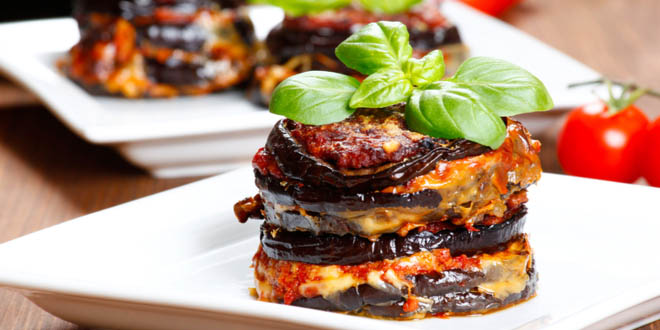 Parmigiana di melanzane or baked eggplant lasagna served in some of the best restaurants to eat in Rome.