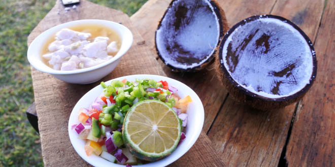 Tools and ingredients for making the Fijian Food, Kokoda (Raw Fish Salad), available in the best seafood restaurants in Fiji.