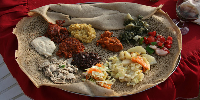 Injera with wats, one of the most famous dishes in Harar, Ethiopia