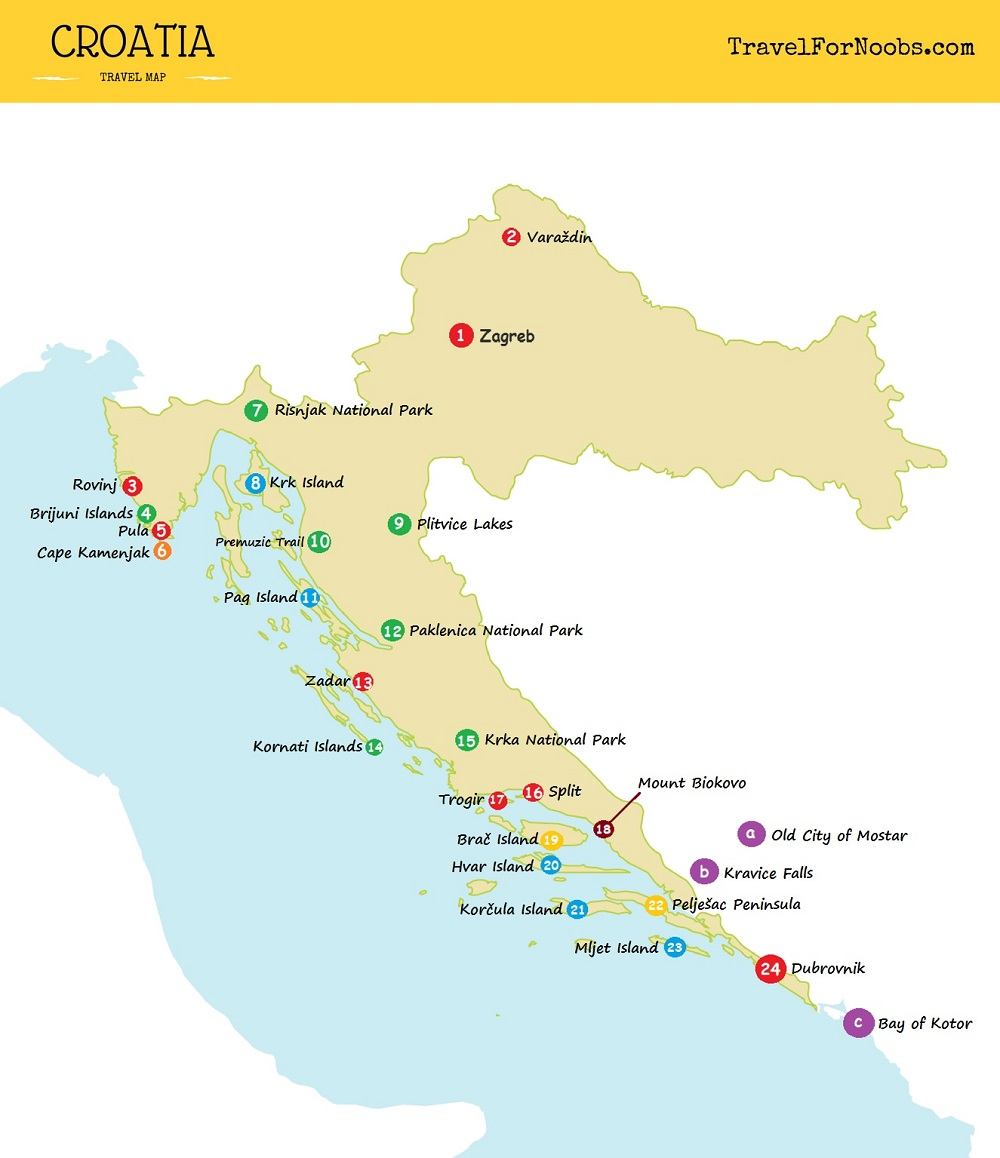 travel map of Croatia