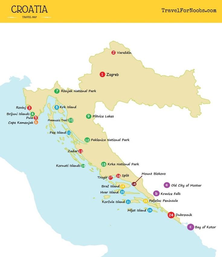 travel map of Croatia