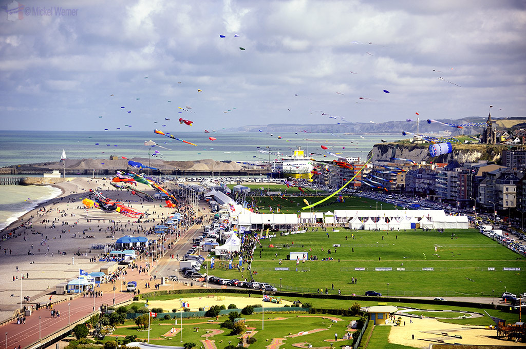 The Dieppe beach during the International Kite Festival & Competition