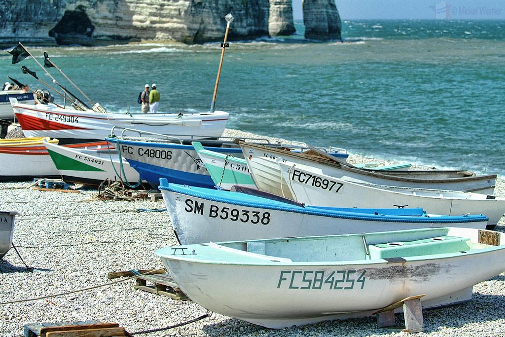 Fishing boats on the beach of Etretat