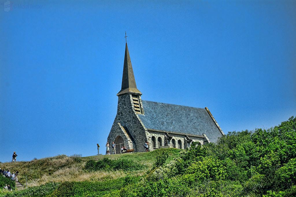 Notre-Dame de la Garde chapel on the top of the Etretat cliffs