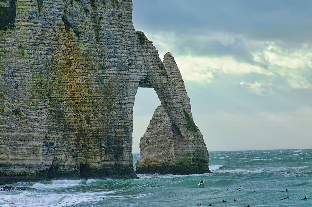 Etretat's arch and needle cliffs, L'Arche and l'Aiguille of the Aval cliffs