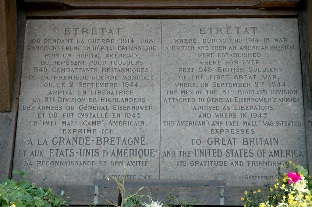 Etretat's WWII Memorial plaque