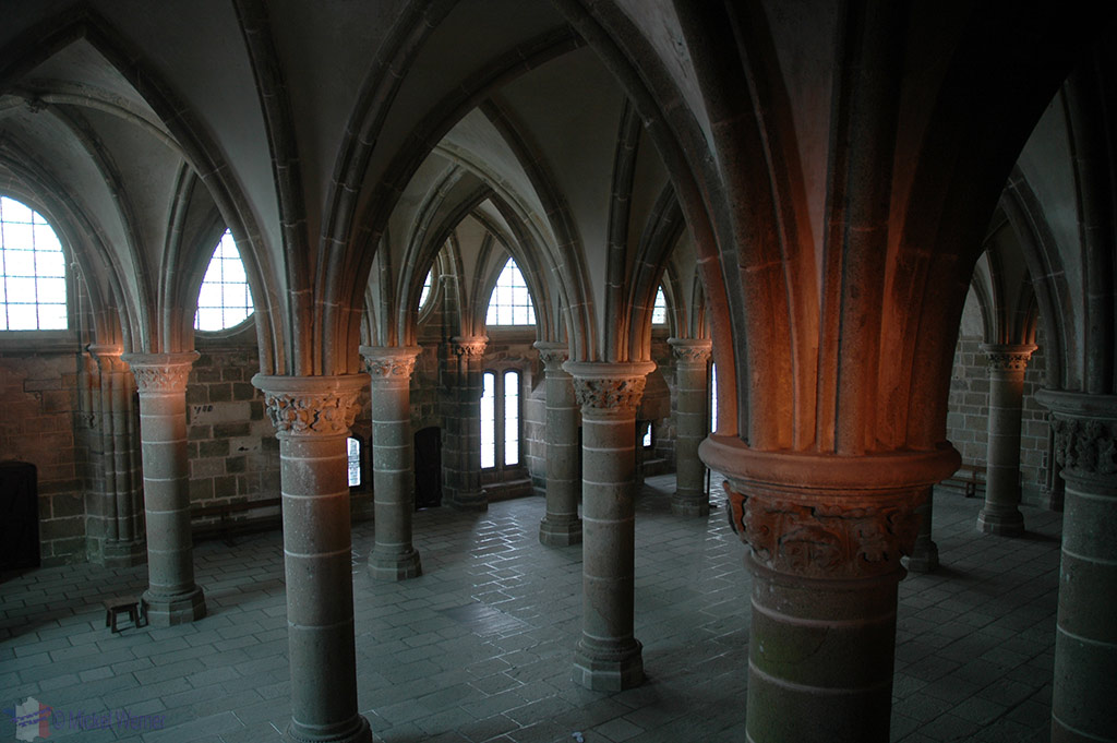 Inside the monastery of Mont St. Michel