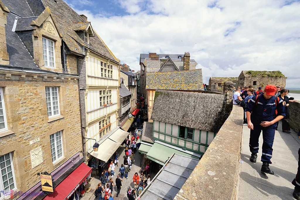 Narrow streets and wall of Mont St. Michel