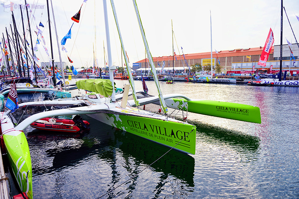 One of the participating sailboats of the Transat Jacques Vabre race at the Le Havre docks