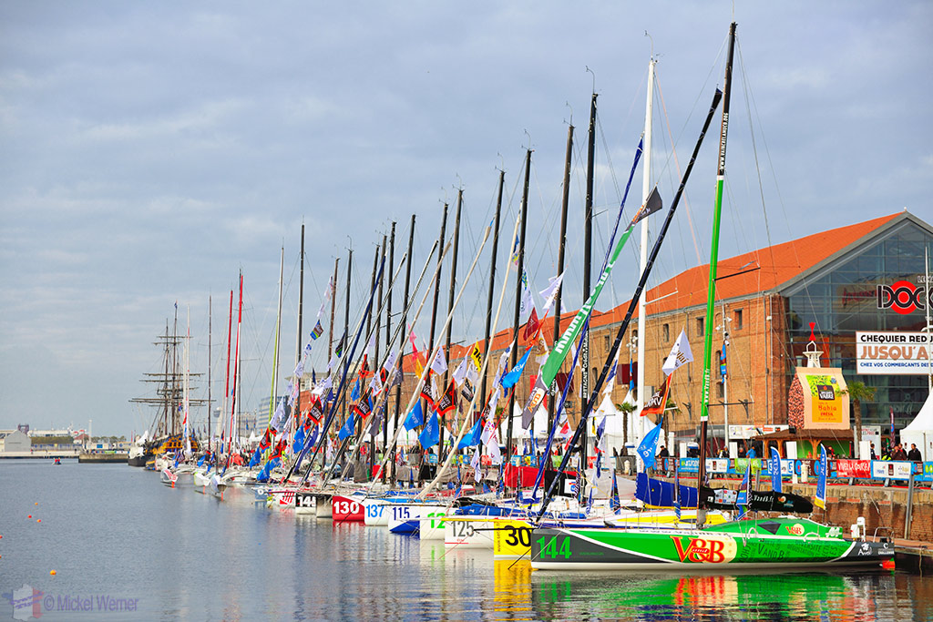 The Transat Jacques Vabre yachts lined up at the Le Havre docks