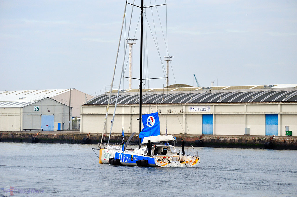 Test run for one of the race yachts of the Transat Jacques Vabre at the Le Havre docks