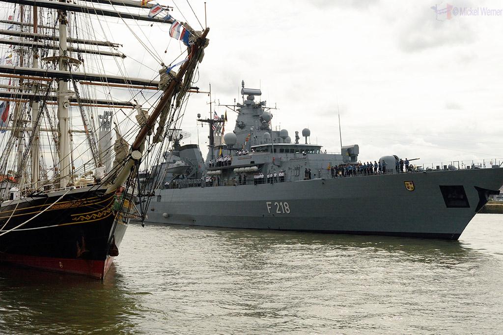 Warships at Rouen's Armada of tall sail ships