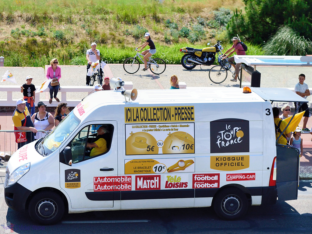 Souvenir selling van at the Tour de France