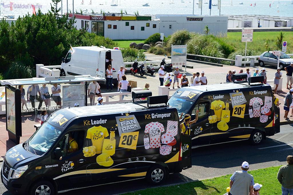 Last souvenir selling vans on the Tour de France