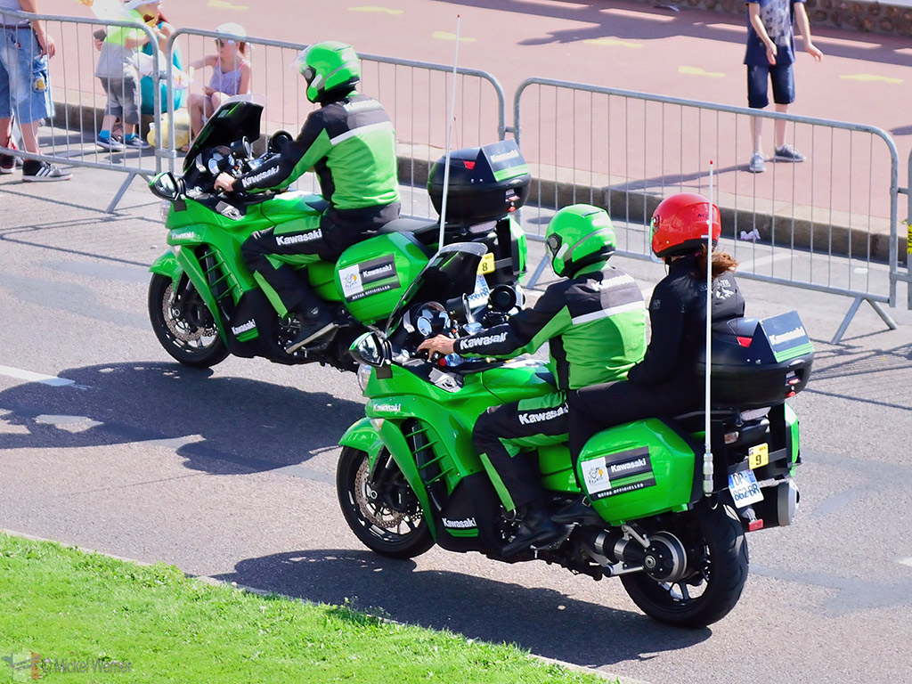 Tour officials on the official motorcycle of the Tour de France
