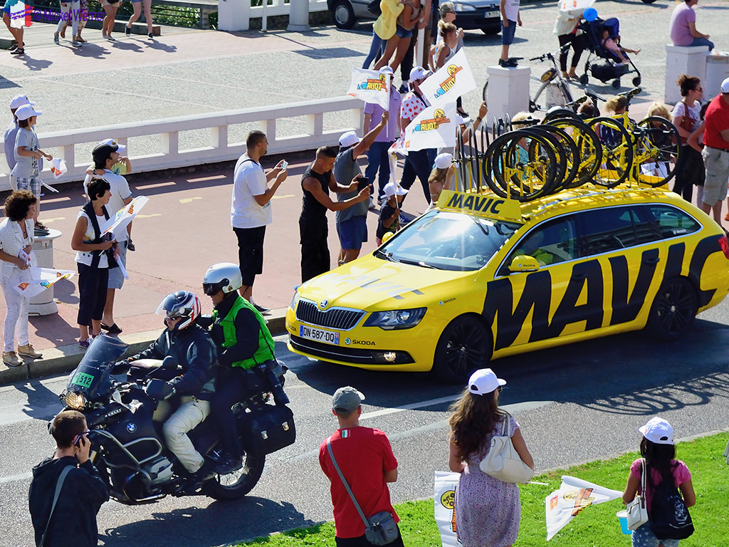 Spare bicycles carrying cars on the Tour de France