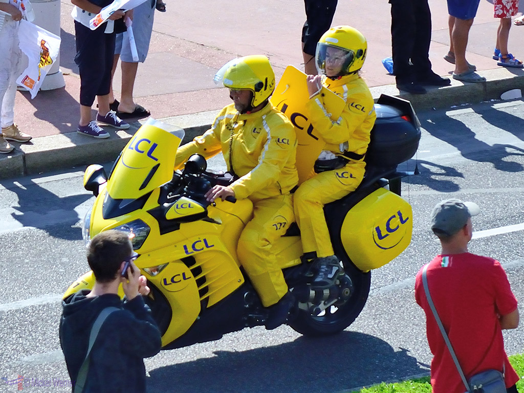 Time displayer on their official motorcycle on the Tour de France
