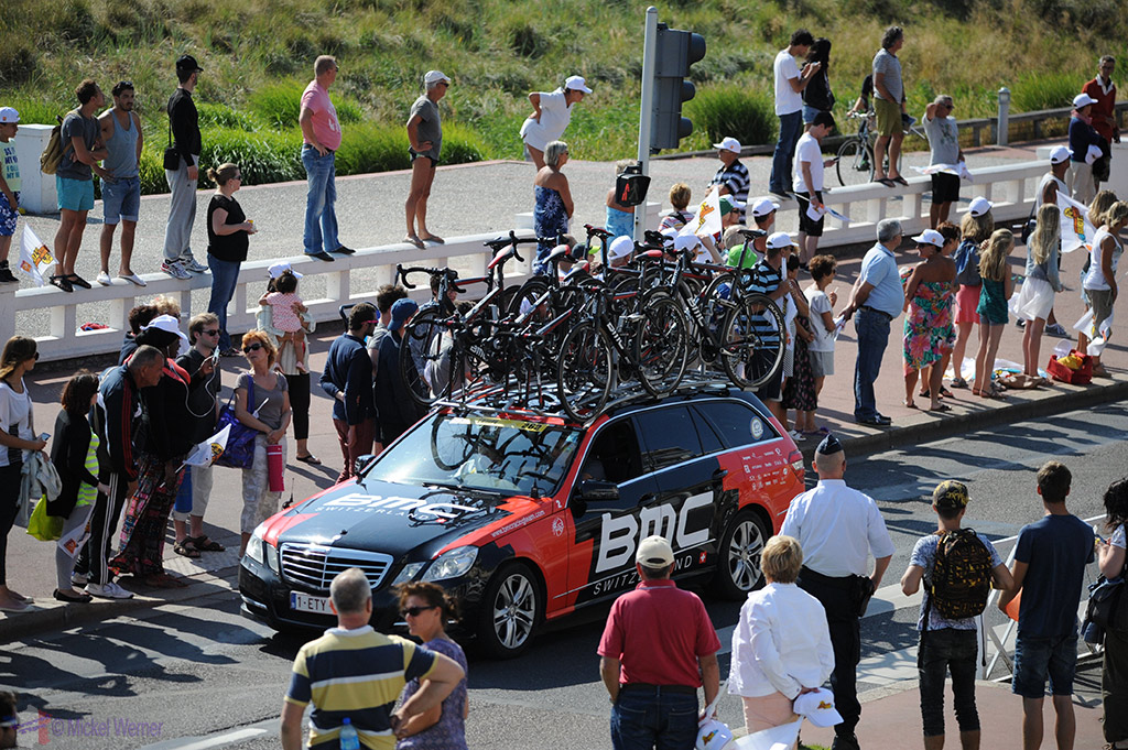Team support cars on the Tour de France