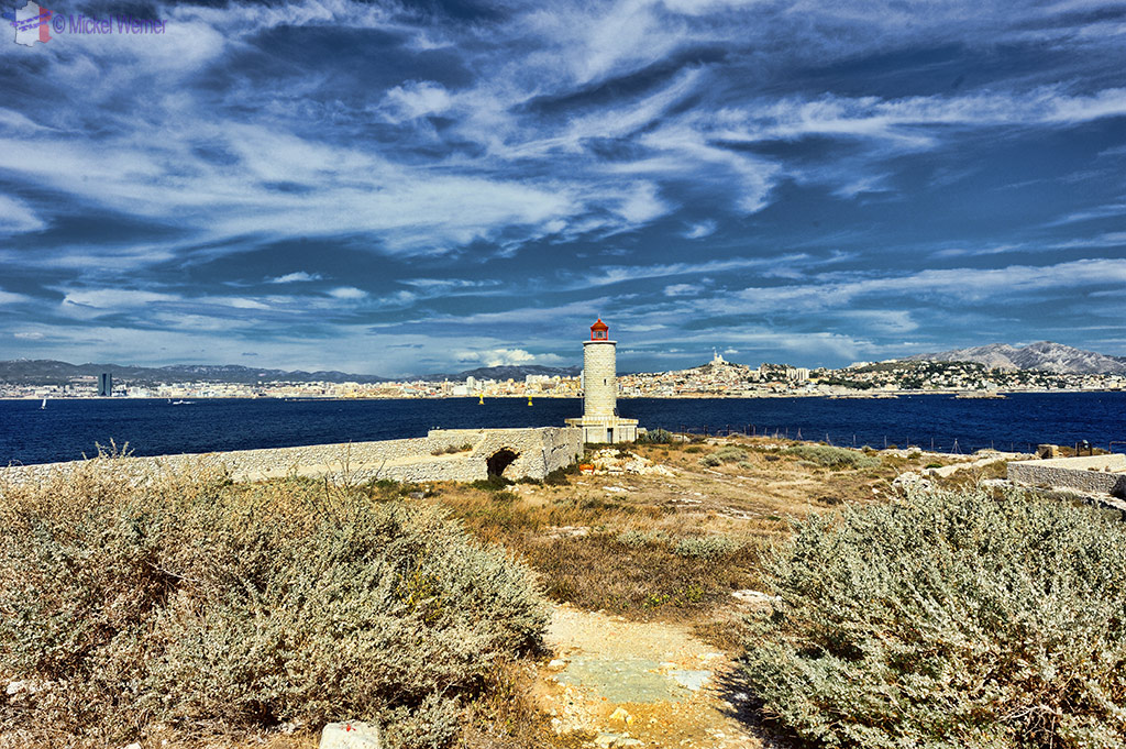 The walls and lighthouse of the Chateau d'If at Marseilles