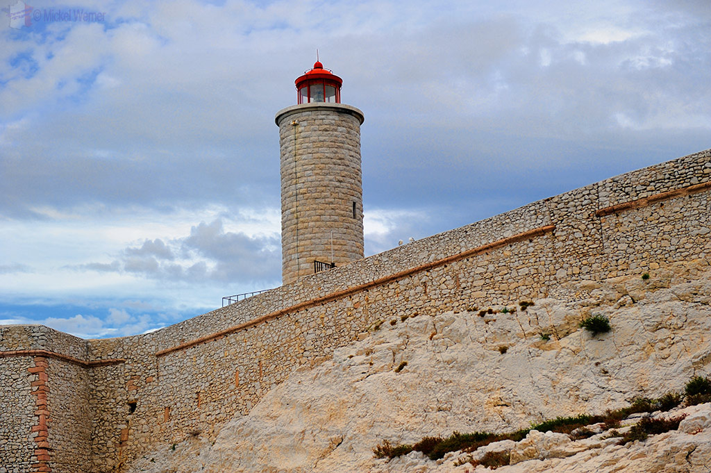 Fortress walls and lighthouse of the Chateau d'If at Marseilles