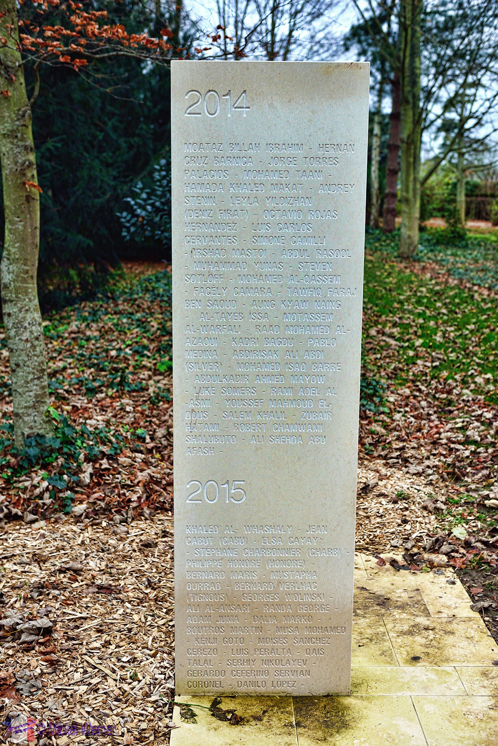 Pillar with names of reporters killed at the reporters memorial of Bayeux