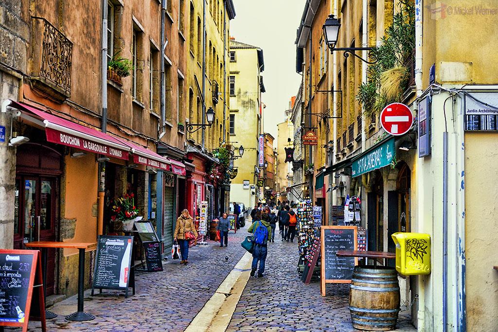 Cobblestone streets of Vieux Lyon (Old Lyon)