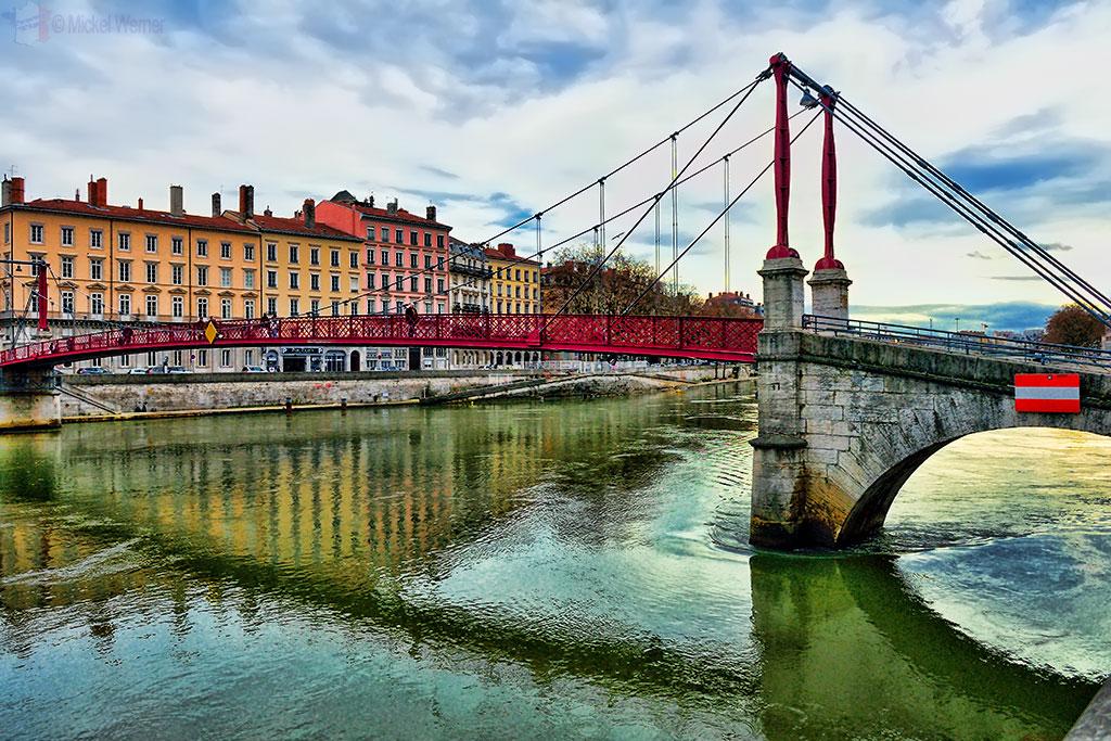 The Saint George bridge over the Saone river in Lyon