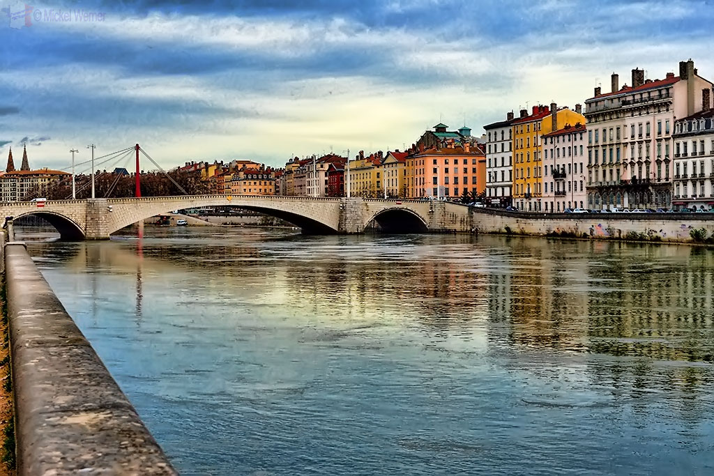 The Bonaparte bridge over the Saone river in Lyon