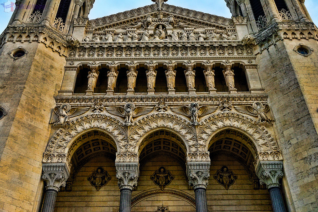 Entrance of the Basilica of Notre Dame de Fourviere of Lyon