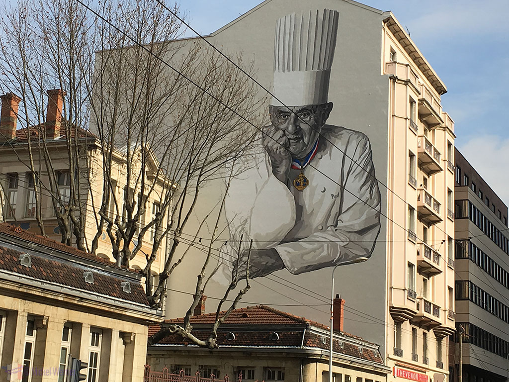 Mural painting of the great chef Paul Bocuse in Lyon