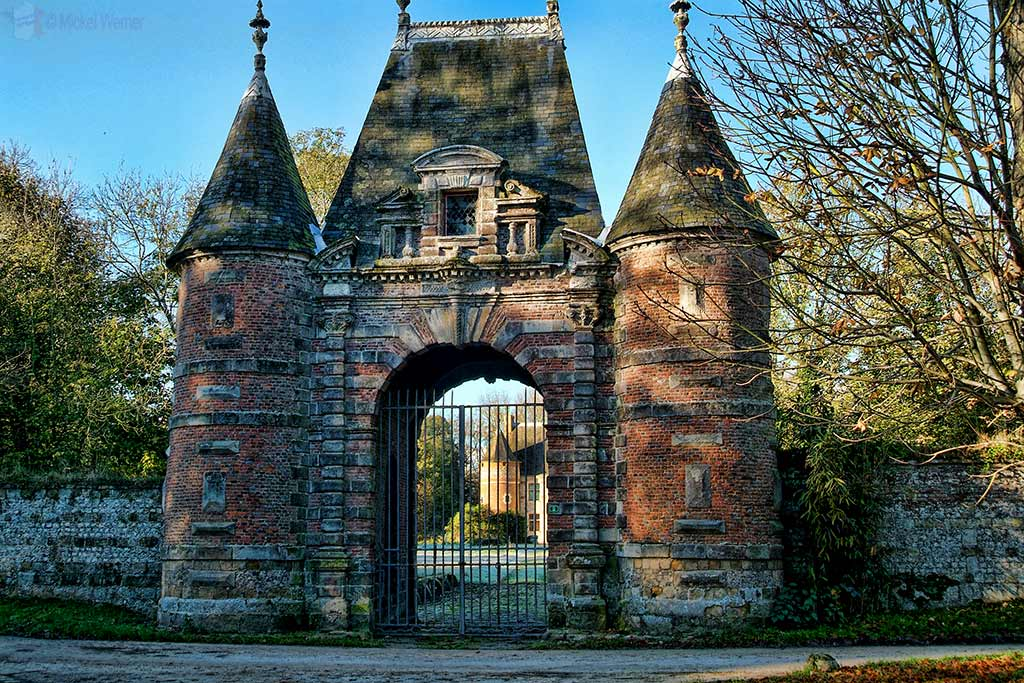 Main gate of the Auberville Castle at Auberville-La-Manuel