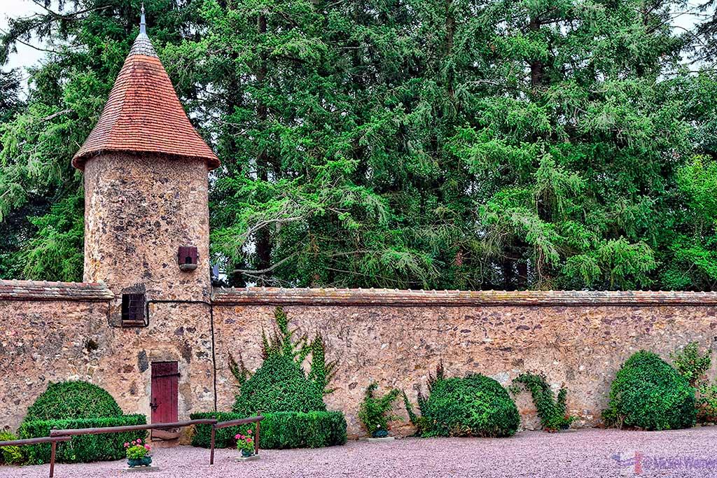 Inside the courtyard of the Vallon-en-Sully Castle -Chateau de Peufeilhoux