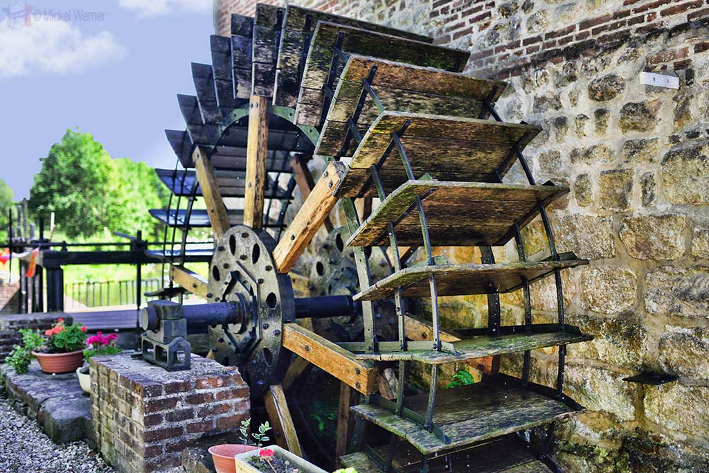 The wheel of a watermill
