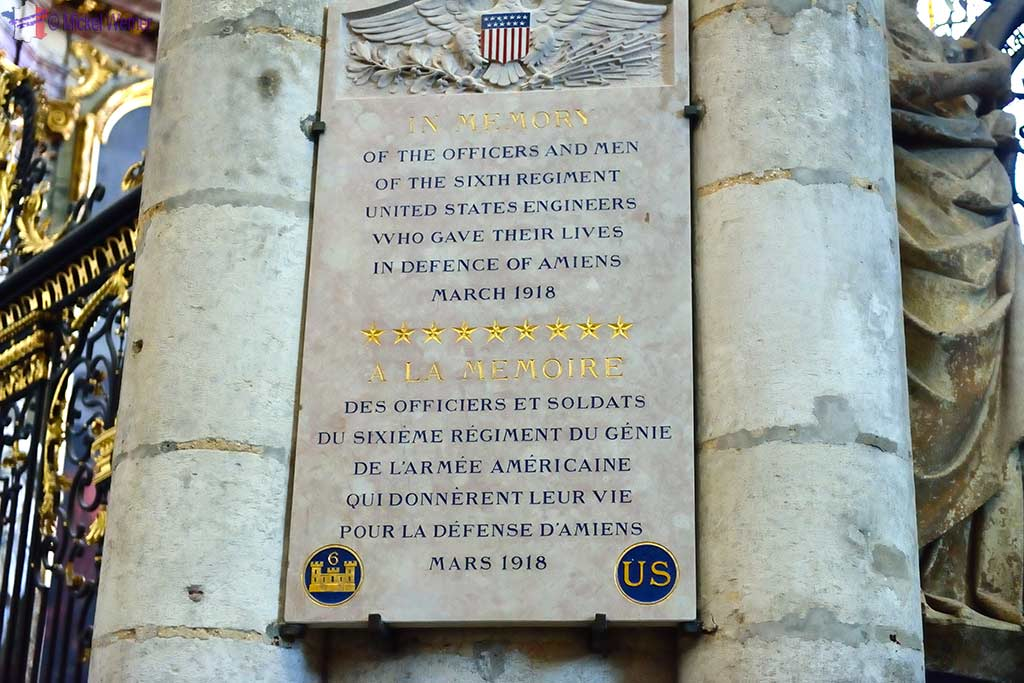 Sign thanking allied US armed forces for liberating Amiens