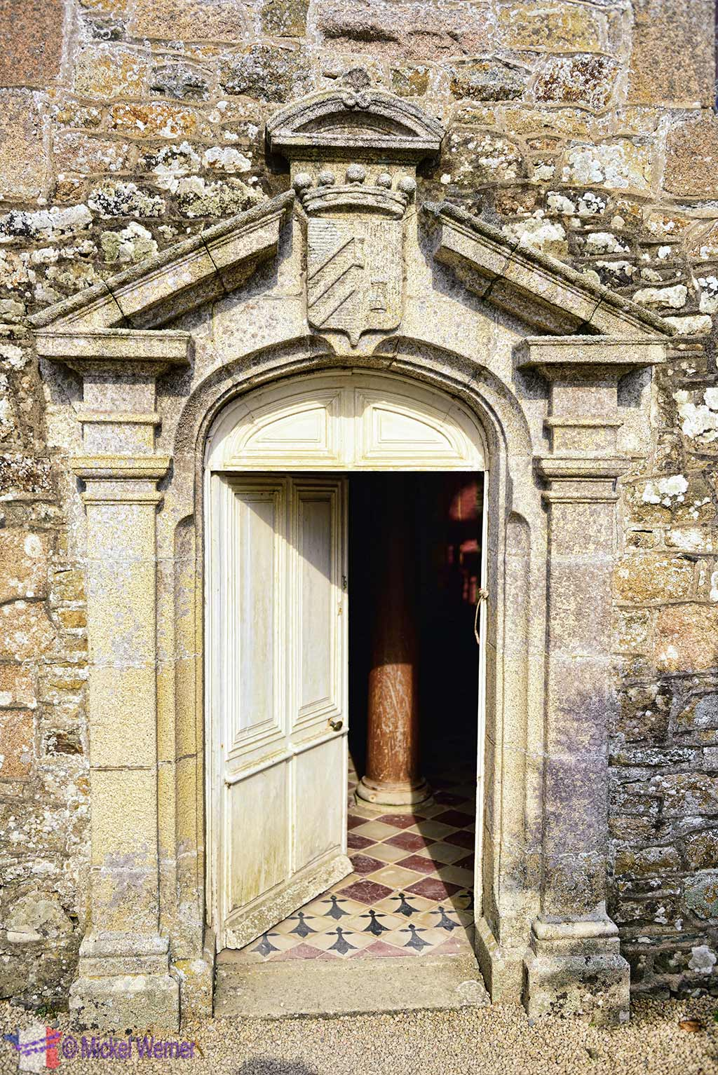 Door of the Chapel at the Chateau de Kerduel in Pleumeur-Bodou, Brittany