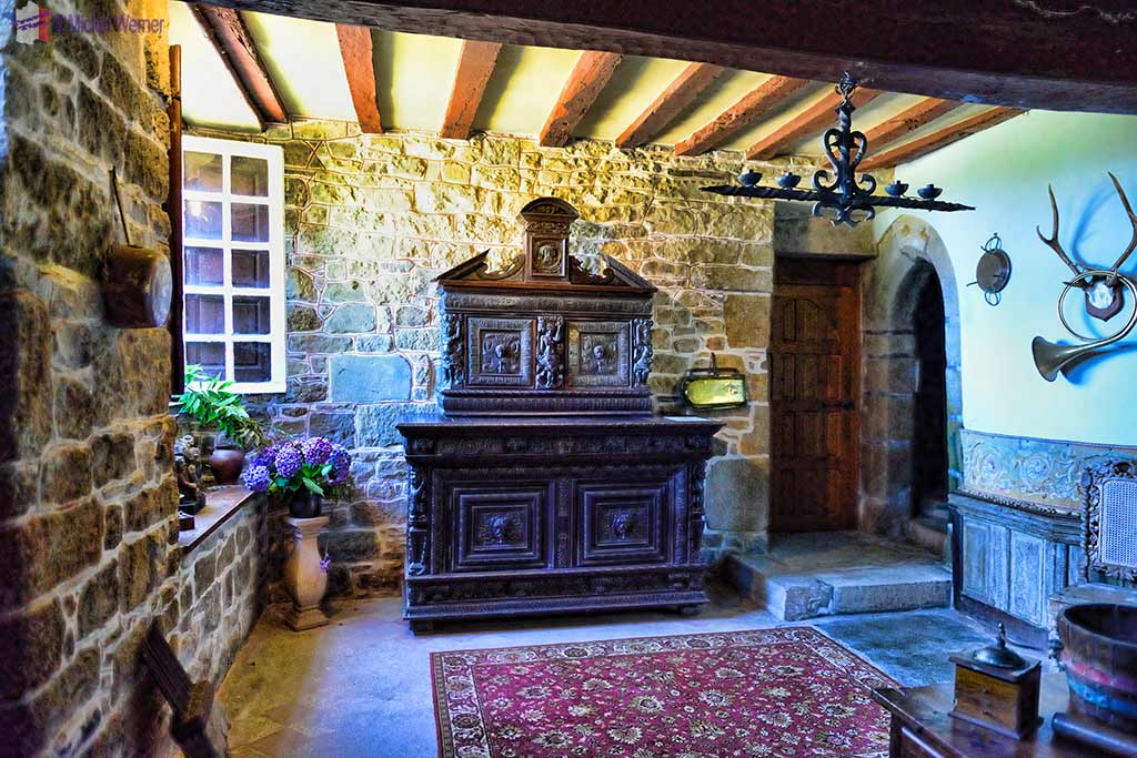 Kitchen, inside the Castle Kergrist at Ploubezre, Brittany