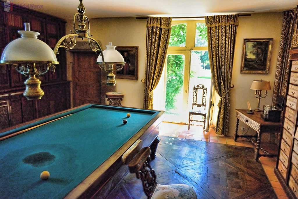 Pool table/Library, inside the Castle Kergrist at Ploubezre, Brittany