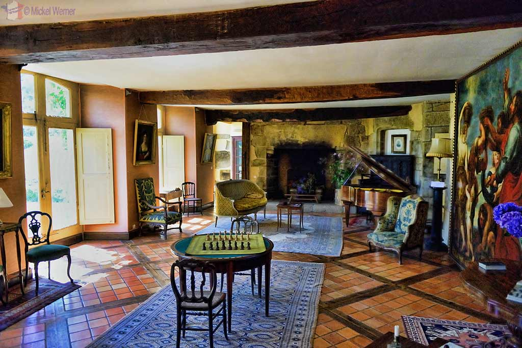 Living room, inside the Castle Kergrist at Ploubezre, Brittany