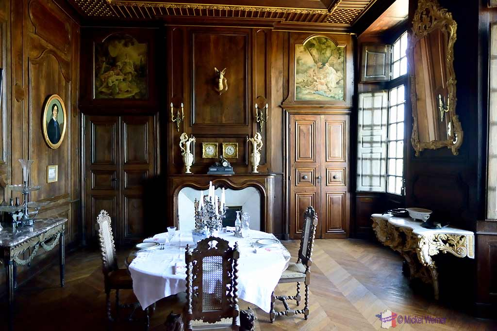 Dinning room, inside the Castle Kergrist at Ploubezre, Brittany