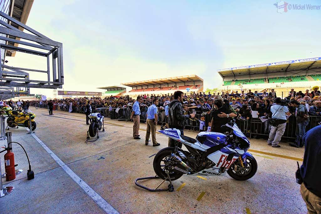 Spectators during pit walk at the MotoGP race at Le Mans